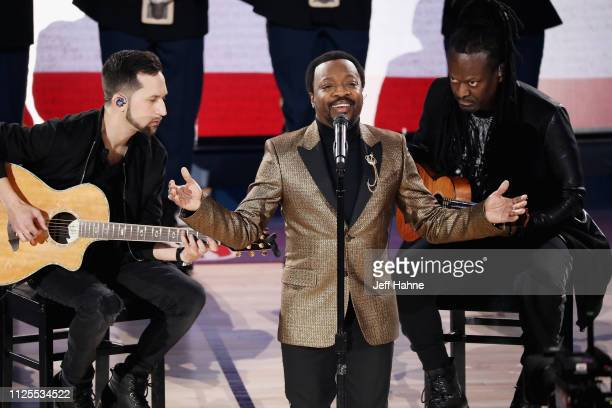 Anthony Hamilton performs the National Anthem during the 68th NBA All-Star Game at Spectrum Center on February 17, 2019 in Charlotte, North Carolina.