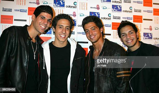 Anthony Hannides Mike Hannides Simon Vitsaides Philip Kemish of 4Tune attend the Sir Allan Sugar Challenge Halloween Party part of Sir Alan's...