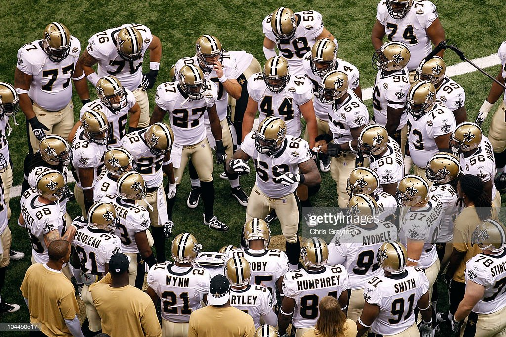 Anthony Hargrove Of The New Orleans Saints Leads His Team In