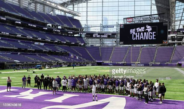 Anthony Harris of the Minnesota Vikings addresses the media regarding police violence and race inequalities during training camp on August 28, 2020...