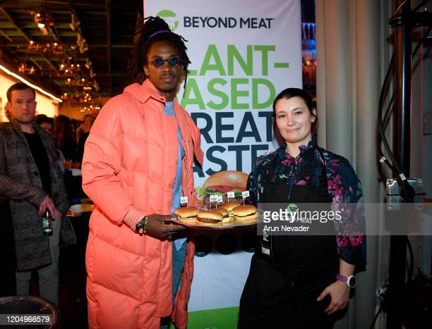 Anthony Harris of the Minnesota Vikings and Jillian Krebsbach of Beyond Meat backstage at New York Fashion Week Powered by Art Hearts Fashion NYFW...