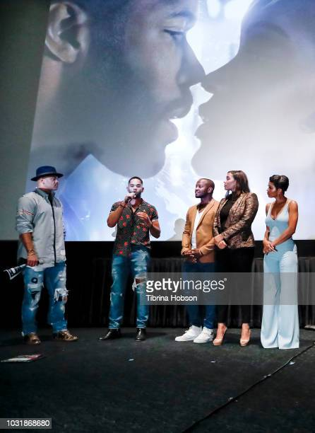 Anthony Hemingway Dijon Talton Qasim Basir Samantha Tanner and Meagan Good attend the premiere of 'A Boy A Girl A Dream' QA and after party on...