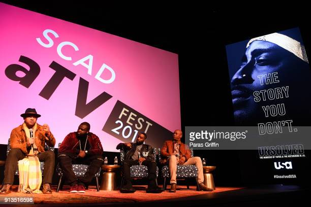 Anthony Hemingway Marcc Rose Wavyy Jonez and Bokeem Woodbine speak during a screening and QA for 'Unsolved The Murders of Tupac and the Notorious...