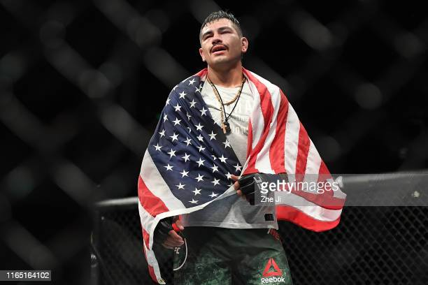 Anthony Hernandez celebrates after his submission victory over Jun Yong Park of South Korea in their middleweight bout during the UFC Fight Night...