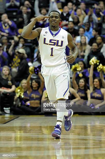 Anthony Hickey of the LSU Tigers reacts to a score against the Kentucky Wildcats during a game at the Pete Maravich Assembly Center on January 28,...