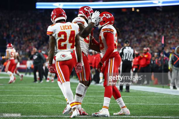 Anthony Hitchens of the Kansas City Chiefs reacts during a game against the New England Patriots at Gillette Stadium on October 14 2018 in Foxborough...