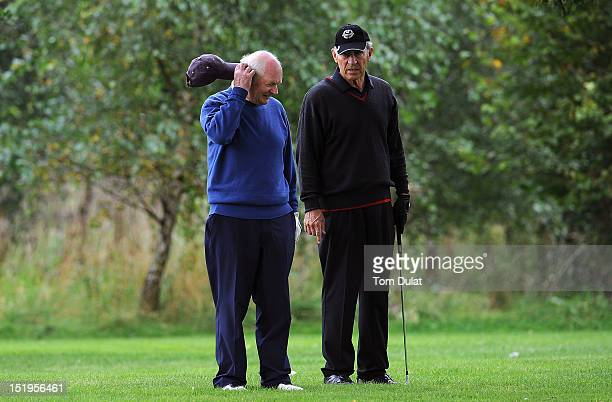 Anthony Hooey and Leonard Owens of Royal Dublin Golf Club chat during the final day of the PGA Super 60's Tournament at the De Vere Belton Woods Golf...