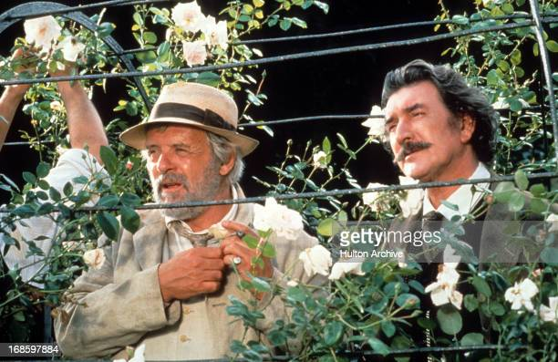 Anthony Hopkins and Gawn Grainger looking out from rose garden in a scene from the film 'August' 1996