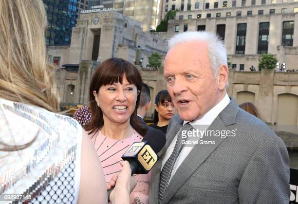 Anthony Hopkins and his wife Stella Arroyave arrive for the premiere of 'Transformers The Last Knight' at Civic Opera Building on June 20 2017 in...