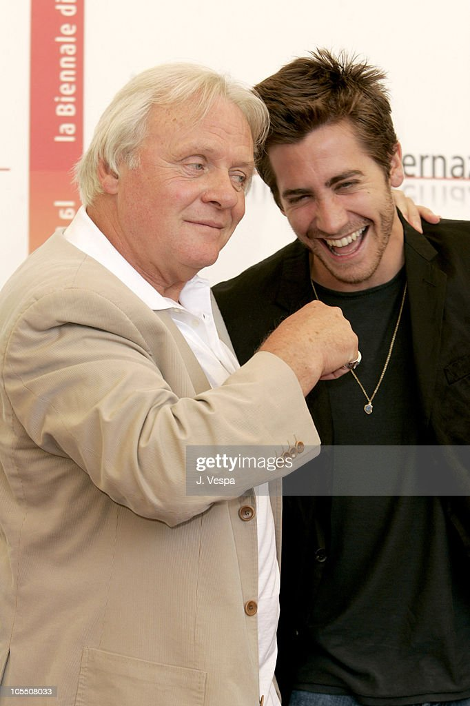 Anthony Hopkins and Jake Gyllenhaal during 2005 Venice Film Festival - 'Proof' Photocall at Casino Palace in Venice Lido, Italy.