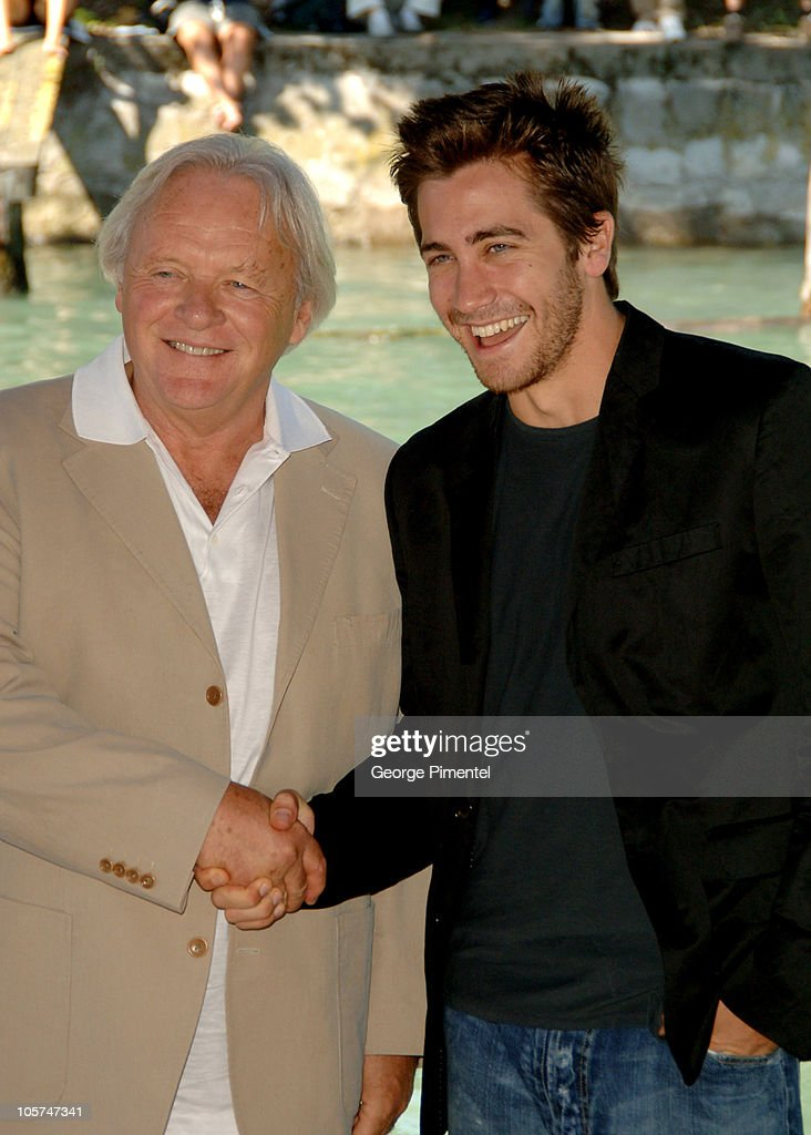 Anthony Hopkins and Jake Gyllenhaal during 2005 Venice Film Festival - 'Proof' Photocall - Arrivals at The Westin Excelsior in Venice Lido, Italy.