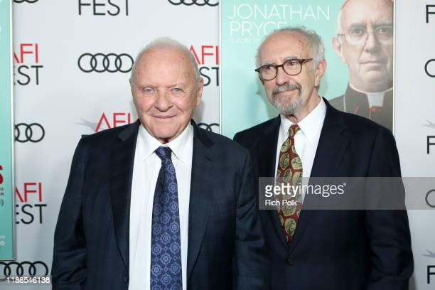 Anthony Hopkins and Jonathan Pryce attend The Two Popes Gala Event at TCL Chinese Theatre on November 18 2019 in Hollywood California
