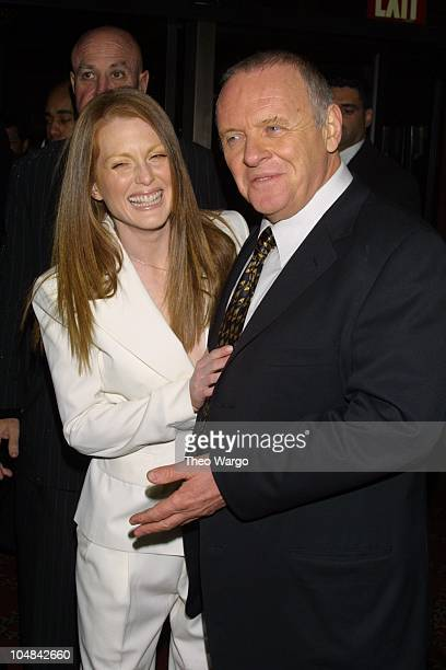 Anthony Hopkins and Julianne Moore during Hannibal New York Premiere at Ziegfeld Theatre in New York City New York United States