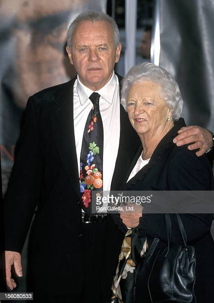 Anthony Hopkins and mother during Anthony Hopkins Footprint Ceremony at Mann's Chinese Theater in Hollywood California United States