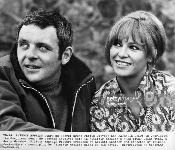 Anthony Hopkins and Nathalie Delon looks on in a scene for the movie 'When Eight Bells Toll' circa 1970