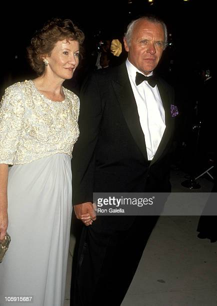 Anthony Hopkins and Wife Jennifer Lynton during 1996 Vanity Fair Oscar Party Arrivals at Morton's Restaurant in West Hollywood California United...
