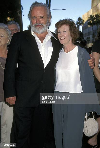 Anthony Hopkins and Wife Jennifer Lynton during The Mask of Zoro Los Angeles Premiere at Samuel Goldwyn Theater in Beverly Hills California United...