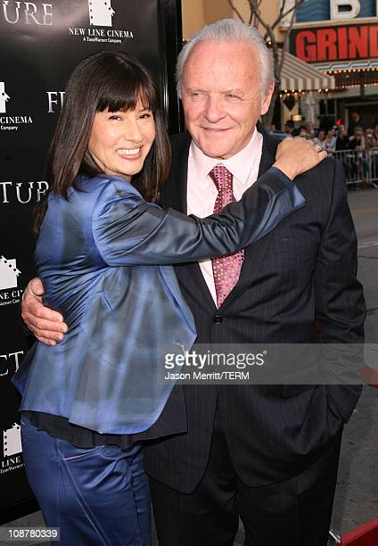 Anthony Hopkins and wife Stella Arroyave during Fracture Los Angeles Premiere Red Carpet at Mann Village Theater in Westwood California United States