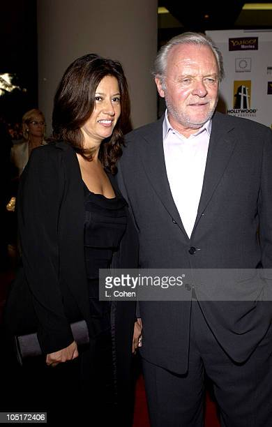 Anthony Hopkins and wife Stella Hopkins during 2003 Hollywood Awards Gala Ceremony Red Carpet at Beverly Hilton Hotel in Beverly Hills California...