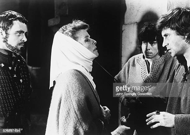 Anthony Hopkins as Richard Katharine Hepburn as Eleanor of Aquitaine Nigel Terry John and John Castle as Geoffrey in 1968 film The Lion in Winter