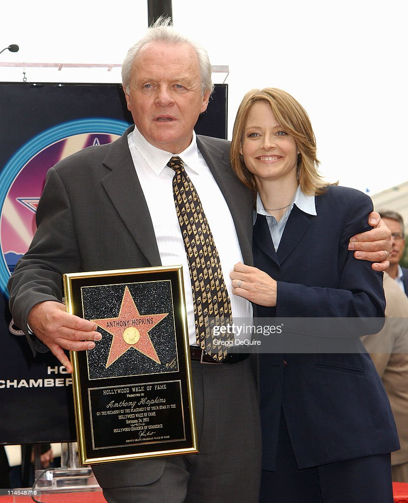 Anthony Hopkins & Jodie Foster during Anthony Hopkins Honored With A Star On The Hollywood Walk Of Fame at Hollywood Blvd. in Hollywood, California, United States.