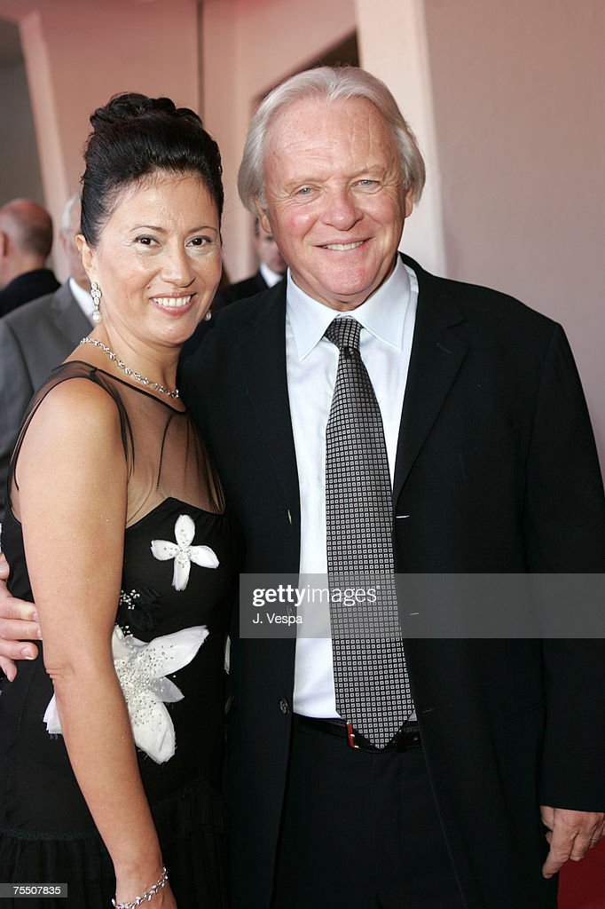 Anthony Hopkins with wife Stella Arroyave at the Venice Lido in Venice Lido, Italy.