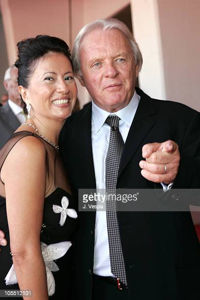 Anthony Hopkins with wife Stella Arroyave during 2005 Venice Film Festival Proof Premiere at Venice Lido in Venice Italy