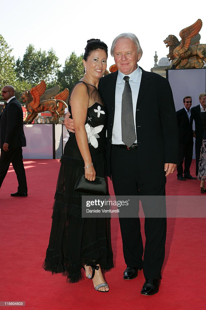 Anthony Hopkins with wife Stella Arroyave (L) during 2005 Venice Film Festival - 'Proof' Premiere at Venice Lido in Venice, Italy.