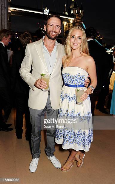 Anthony Howell and Miranda Raison attend the Johnnie Walker Blue Label drinks reception aboard the John Walker Sons Voyager on July 16 2013 in London...