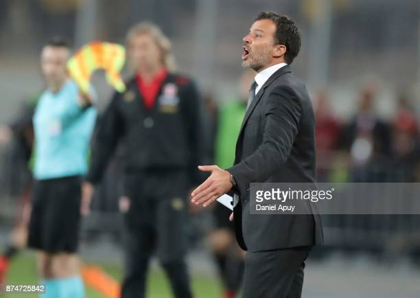 Anthony Hudson coach of New Zealand gestures during a second leg match between Peru and New Zealand as part of the 2018 FIFA World Cup Qualifier...