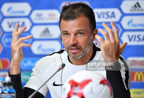 Anthony Hudson head coach of New Zealand talks with the media during a press conference at the Zenit Arena on June 16 2017 in Saint Petersburg Russia