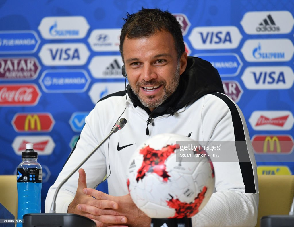 Anthony Hudson, head coach talks to the media during a press conference after a training session of the New Zealand national football team on June 23, 2017 in Saint Petersburg, Russia.