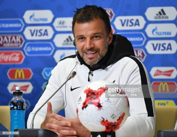 Anthony Hudson head coach talks to the media during a press conference after a training session of the New Zealand national football team on June 23...