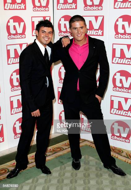 ANthony Hutton and Craig Coates arrive at the TV Quick and TV Choice Awards at the Dorchester Hotel Park Lane on September 5 2005 in London England