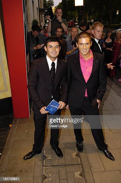 Anthony Hutton and Craig Coates during 2005 TV Quick TV Choice Awards Arrivals at The Dorchester in London Great Britain
