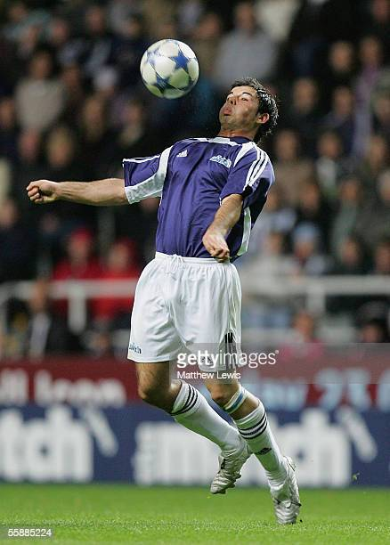 Anthony Hutton of the Celebrities controls the ball during the live final of 'Sky One's The Match II' the second series of the reality TV show which...