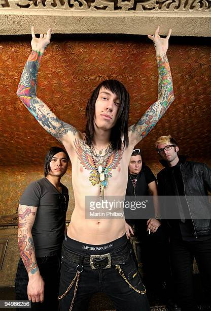 Anthony Improgo, Trace Cyrus, Mason Musso and Blake Healy of Metro Station pose for a group portrait at the Palais Theatre on February 24th, 2009 in...
