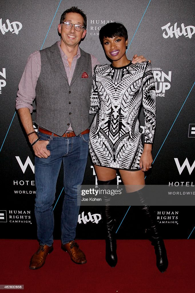 Anthony Ingham and Jennifer Hudson attends Turn It Up For Change ball to benefit HRC at W Hollywood on February 5, 2015 in Hollywood, California.