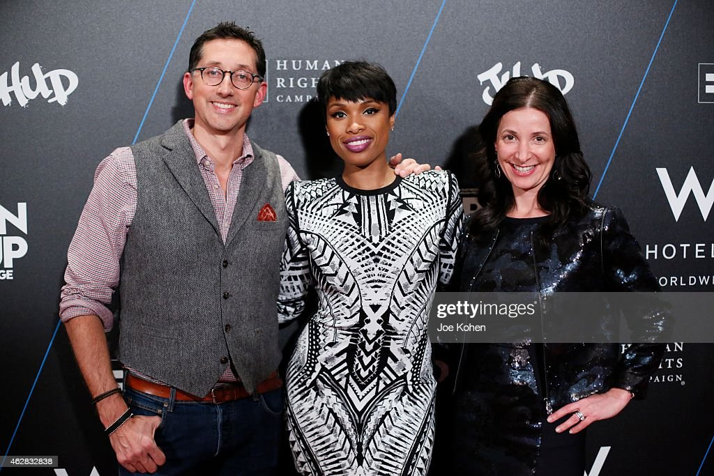 Anthony Ingham, Jennifer Hudson and Suzanne Cohen attend Turn It Up For Change ball to benefit HRC at W Hollywood on February 5, 2015 in Hollywood, California.