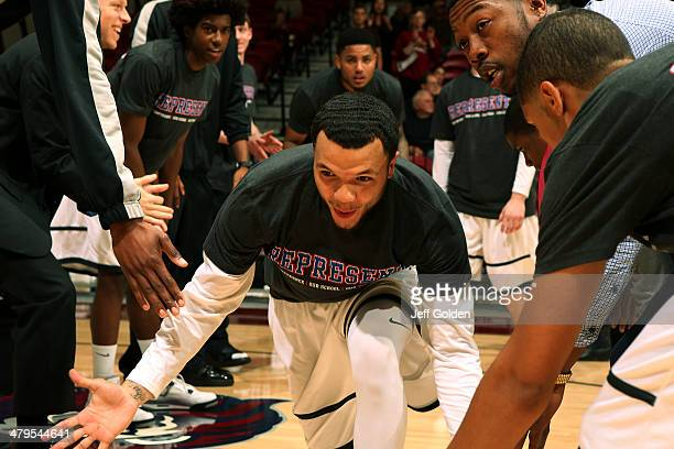 Anthony Ireland of the Loyola Marymount Lions is introduced before the game against the Pepperdine Waves at Gersten Pavilion on February 20 2014 in...