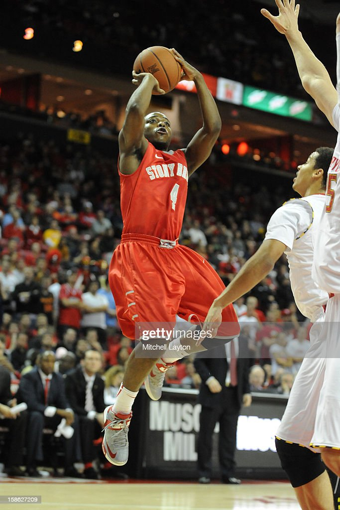 Anthony Jackson #4 of the Stony Brook Seawolves takes a jump shot during a college basketball game against the Maryland Terrapins on December 21, 2012 at the Comcast Center in College Park, Maryland.