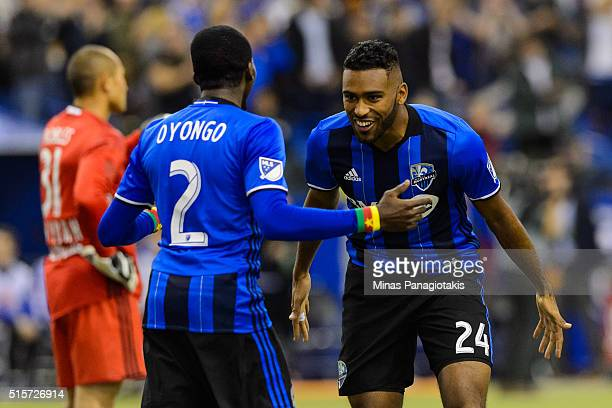Anthony JacksonHamel of the Montreal Impact celebrates his goal with teammate Ambroise Oyongo during the MLS game against the New York Red Bulls at...