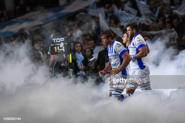 Anthony Jelonch and Victor Moreaux of Castres during the Top 14 match between Racing 92 and Castres at Paris La Defense Arena on September 22 2018 in...