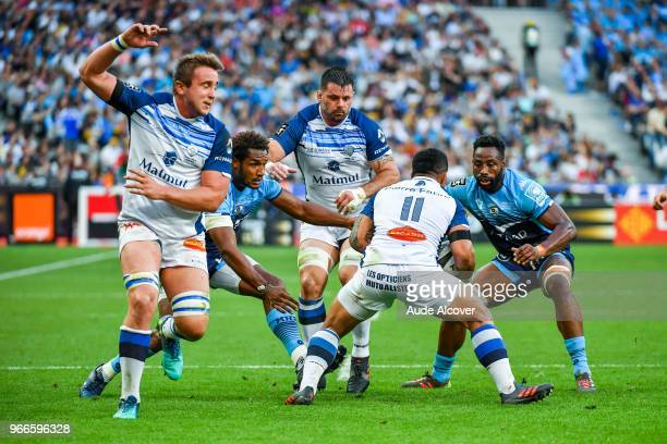 Anthony Jelonch of Castres Benjamin Fall of Montpellier Rodrigo Capo Ortega of Castres and Fulgence Oedraogo of Montpellier during the French Final...