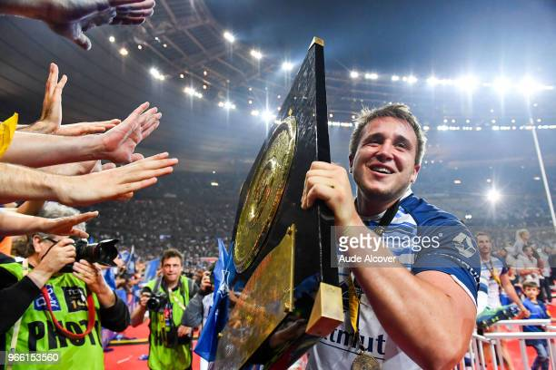Anthony Jelonch of Castres celebrates during the French Final Top 14 match between Montpellier and Castres at Stade de France on June 2 2018 in Paris...