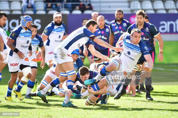 Anthony Jelonch of Castres during the French Top 14 match between Stade Francais and Castres at Stade Jean Bouin on March 11 2018 in Paris France