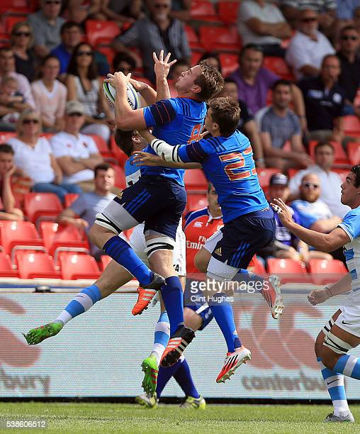 Anthony Jelonch of France catches a high ball during the World Rugby U20 Championship match at the AJ Bell Stadium on June 7 2016 in Salford England
