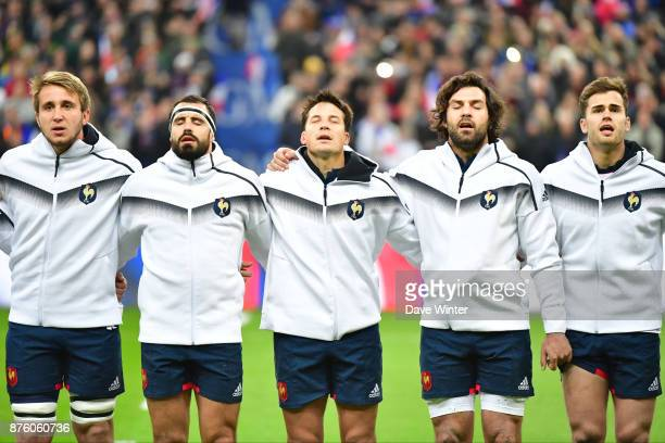 Anthony Jelonch of France Geoffrey Doumayrou of France Francois Trinh Duc of France Kevin Gourdon of France and Damian Penaud of France during the...