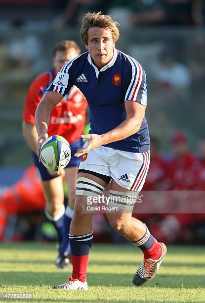 Anthony Jelonch of France passes the ball during the World Rugby U20 Championship 3rd Place PlayOff match between France and South Africa at Stadio...