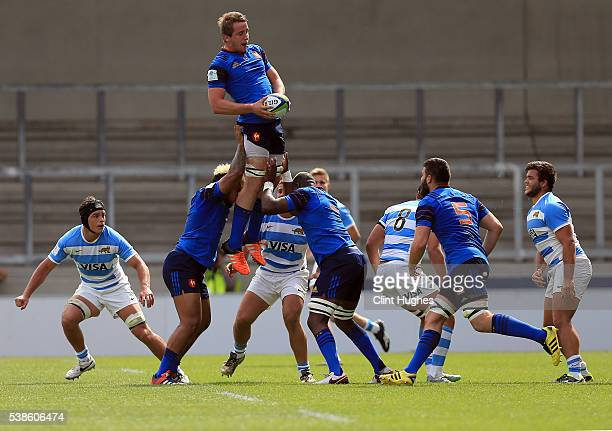 Anthony Jelonch of France wins a line out ball during the World Rugby U20 Championship match at the AJ Bell Stadium on June 7 2016 in Salford England